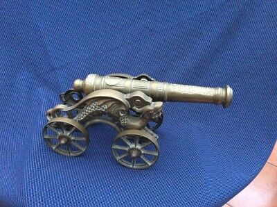 Large Impressive Vintage Ornate Solid Brass Model Cannon