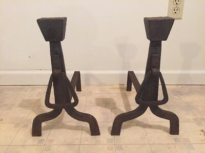 Antique Forged Wrought Iron Fireplace Andirons Fire Dogs, Arts & Crafts