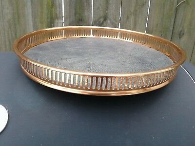 """Coppercraft Guild Copper Faux Leather 13""""  Round Serving Tray"""
