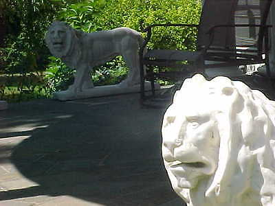 White Carrara Marble Lions Hand Carved  (Lot Of 2) Facing Left