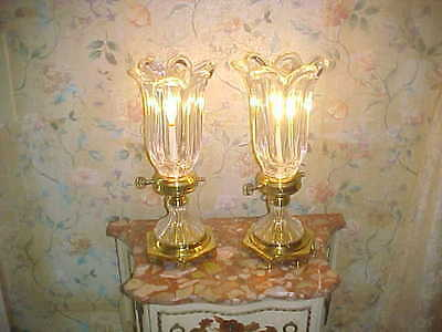 Pair Of Crystal Tulip Lamps With Brass Base