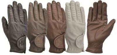 Hy5 Children's Leather Equestrian Horse Riding Gloves 4 Colours Size XS-XL 9725P
