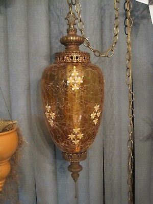 Vintage Amber Glass Hanging Swag Lamp w/Diffuser Nicest on Ebay
