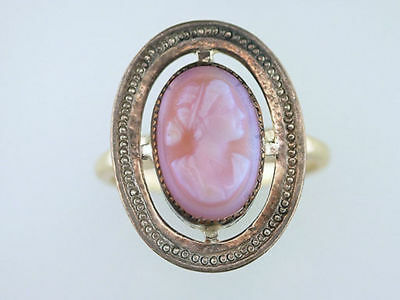 Vintage Antique Cameo 14K Yellow Gold Victorian Cocktail Ring