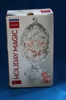 VINTAGE CRISTAL D' ARQUES CLEAR FOOTED EGG SHAPED CANDY DISH WITH LID c1970 NIB