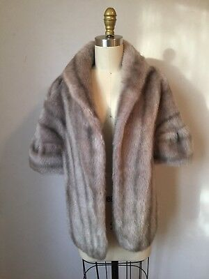 VINTAGE 40s 50s FAUX FUR STOLE WRAP SHRUG COLLAR CAPE SCARF ART DECO Vegan Gray