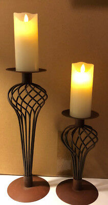Set of 2 Vintage Look Metal Wrought Iron Pillar Candle Holders Footed Swirl Gift
