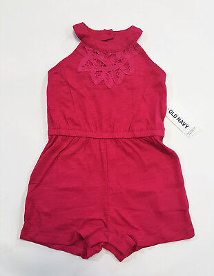NWT Girls Old Navy Size 12 18 24 Months 2t or 3t Pink Open Back Shorts Romper