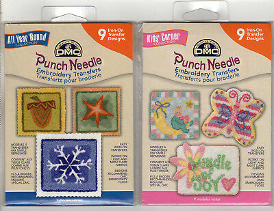 NEW DMC Punch Needle Embroidery Iron-On Transfers 2 Packs 18 Designs Total