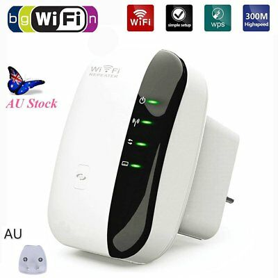 300Mbps WiFi Repeater AU Plug Wireless Router Range Extender Signal Booster WPS