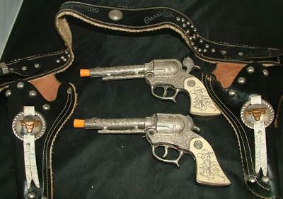 TOY Vintage Wyandotte Toys HOPALONG CASSIDY Double Holster Rig PLUGGED