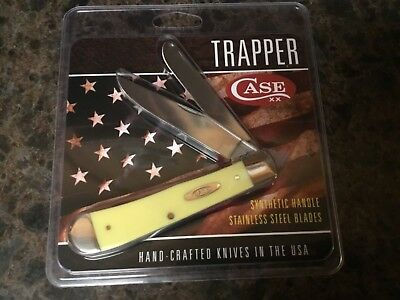 Case XX Trapper Pocket Knife Yellow Synthetic Stainless Steel Knives USA Made