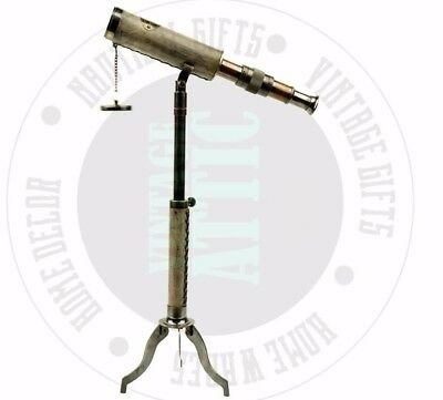 New Vintage Brass Telescope With Tripod Stand Rustic Home Decor Free Shipping
