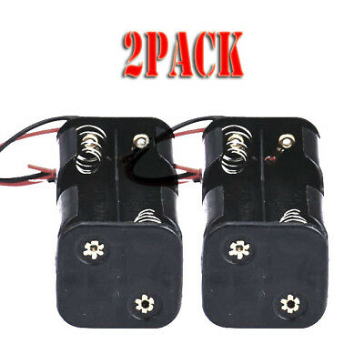 2 Pcs Black Plastic Battery Holder Case With Wired for 4 x AA Batteries