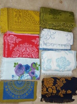 Lot of 8 Vintage Retro Bath & Hand Towels Mod Retro