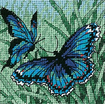 "Needlepoint Kit Butterfly Duo 2 Blue Butterflies Mini 5"" x 5"" Dimensions"