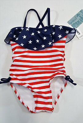 NWT Girl Old Navy Size 12 18 24 Months or 2t American Flag Bathing Suit July 4th