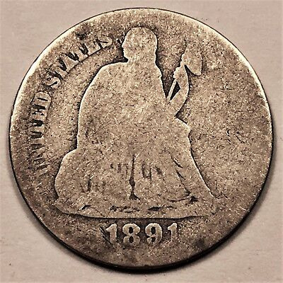 1891-O U.S. Seated Liberty Dime. 90% Silver. US 10c Coin. Better Date. Rare. l
