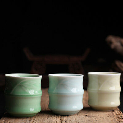 120ml tea cup porcelain marked cup of tea longquan celadon cups bamboo relief