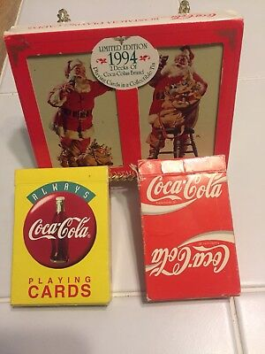 Coca-Cola Collectors Playing Cards 4 Deck Lot-1994 Christamas Tin