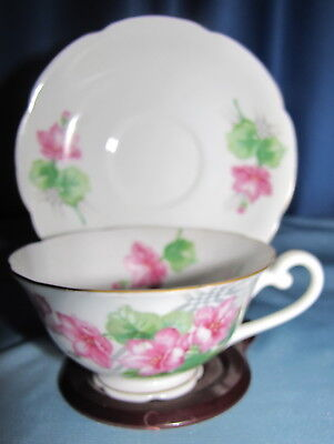 Diamond Occupied Japan Cup And Saucer, Beautiful Floral Pattern