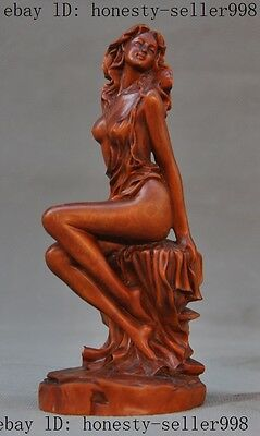China Boxwood wood Pure Hand-carved Sexy Beauty Belle Beautiful Women Art Statue