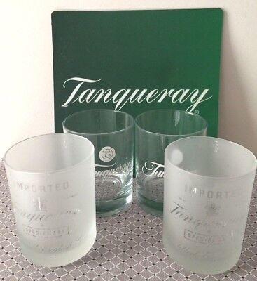 Set Of Four(4) Tanqueray 12Oz Clear & Frosted Glasses/tumblers Tonic +Mouse Pad