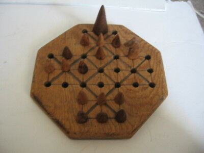 Antique Hand Carved Wood Fox & Goose Game Board