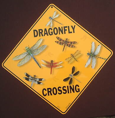 DRAGONFLY CROSSING SIGN aluminum insects decor novelty home signs dragonflys