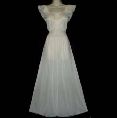 Vtg Soft & Silky Perma Pleat Ruffle Vanity Fair Quality Xlong Fem Nightgown S