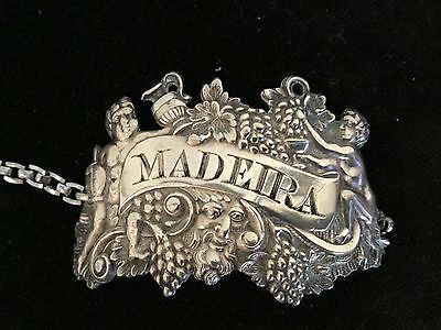 "antique sterling silver George lll Madeira wine tag label London 2.25"" maker WK"