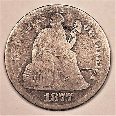 1877-S U.S. Seated Liberty Dime. 90% Silver. US 10 c Coin. Better Date. Rare. g