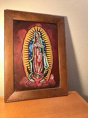 "antique Arts&Crafts  ""The Madonna"" oil painting in copper frame 10x16"" rare 1915"