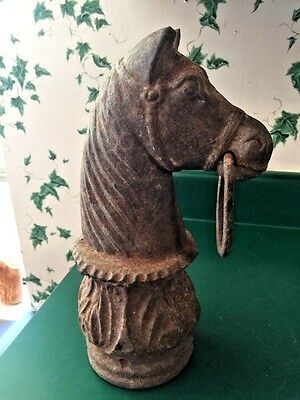 Heavy Antique Rusty Cast Iron Horse Head Hitching Post Topper Large Marked JM243