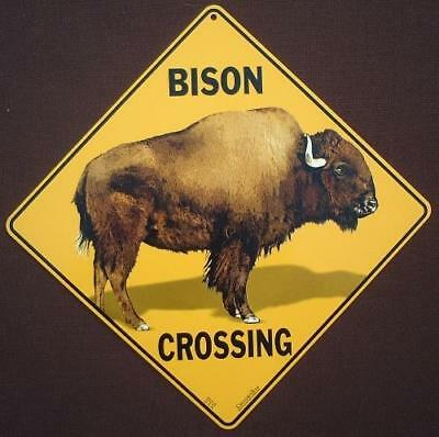 BISON CROSSING SIGN aluminum decor painting novelty home wildlife signs animals