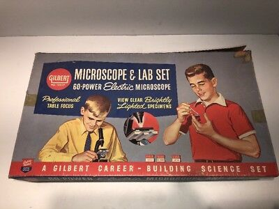 Vintage 1950's Gilbert Microscope & Lab Set Kit  #13017