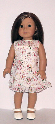 "Beige Floral Chiffon and Satin Print Dress  Fits 18/"" American Girl  Dolls"