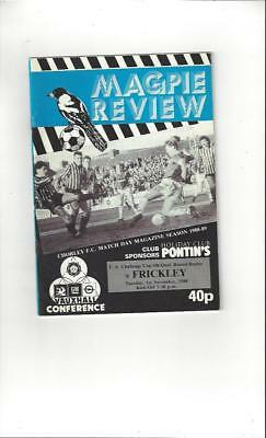 Chorley v Frickley FA Cup Replay 1988/89 Football Programme
