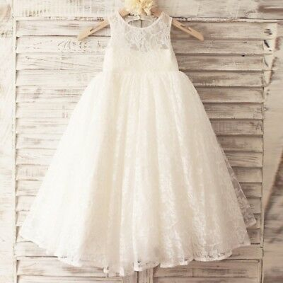 Princess Floor Length Flower Girl Dress Lace Tulle Sleeveless Scoop Neck with