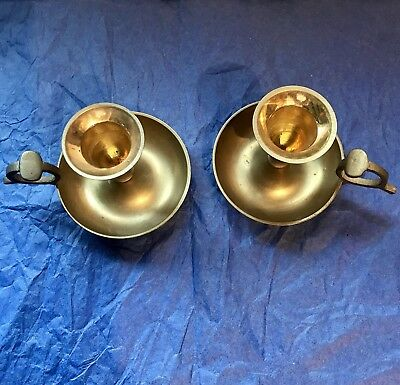 Vintage Solid Brass Pair 2 Candlestick Candle Holder Gatco Finger Holds India