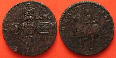IRELAND Crown 1690 JAMES II - GUN MONEY - brass XF!!! # 82989