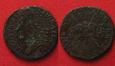 IRELAND Shilling 1689 JAMES II - GUN MONEY - brass XF!!! # 90145