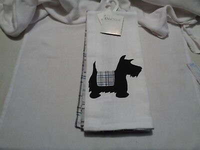 NWT set two co-ordinating dish towels-1 with large scottie 1 matching plaid