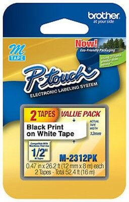 """Genuine OEM Brother M-2312PK P-touch Label - 1/2"""" Black Print on White Tape"""