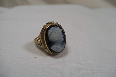 Antique Victorian 14K Solid Yellow Gold Hardstone Cameo Small Sz 4.25 Ring