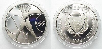 CYPRUS 1 Pound 1988 OLYMPICS silver Proof SCARCE!!! # 95913