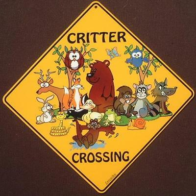 CRITTER CROSSING SIGN animals wildlife decor painting picture bear deer squirrel