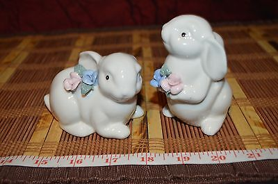 Pair Two White Bunnies Bunny Rabbits Porcelain with Blue & Pink Flowers