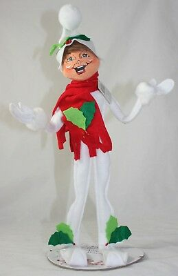 "Annalee Christmas 14"" Holly Berry Elf White NEW"