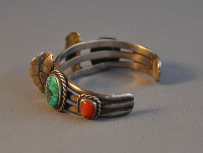 Vintage Navajo Silver Watch Bracelet - Green Turquoise And Coral